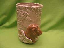 """""""QUON-QUON CO."""" FLOWER VASE - TREE PATTERN w/LOIN - BEIGE & BROWN - EXC. COND."""