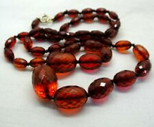 Vintage Lovely Chunky Necklace Of Fossilized Cherry Amber Beads 9 Carat Fastener