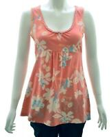 NEW WHITE STUFF UK 6 8  CORAL CREAM FLORAL JERSEY VEST TOP TEE