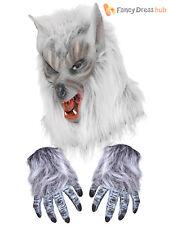 Werewolf Wolf Mask + Hairy Gloves Hands Adult Mens Halloween Fancy Dress Costume