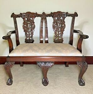 Vintage Kids' 2-Seater Bench Carved Mahogany Chippendale Style Ball-and-Claw