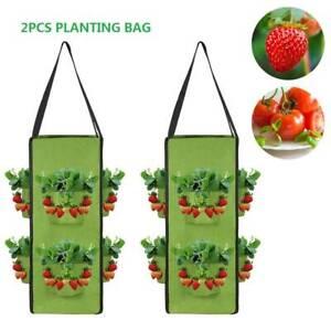 2PC Planting Bags Hanging Grow Strawberry Potato Tomato Pots Vegetable Bag Sacks