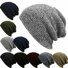 Mens Womens Knitted Crochet Woolly Winter Slouch Skateboard Beanie Hat Ski Cap