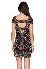 NWT Parker Black Silk Sequin Beaded Elijah Dress, Cut Out Back, Sz X Small,  XS