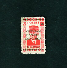 Indochina Indochine Vietnam Stamp Overprint  Marshal Pétain Sc 1L7 Red