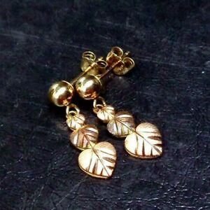 Vintage 10k Rose Gold Etched Hearts Dangle Stud Earrings, C Co, 1g