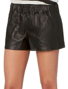 New $398 Rag & Bone Lambskin Leather Jogging Short in Black sz S