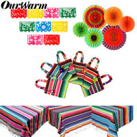 Mexican Party Serape Tablecloth Table Runner Felt Banner Paper Fan Wedding Decor
