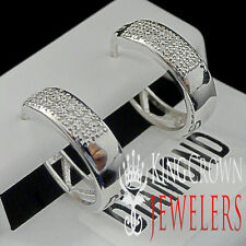 Ladies Real Genuine Diamond Pave Set Hoop Style Earrings 14k White Gold Finish
