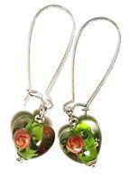 Long Silver Green Pink Heart Earrings Drop Dangle Lampwork Glass Bead