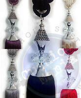 Tie Backs Pair Large Quality Crystal Diamante Curtain Tassel Black Silver Cream