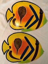 Placemats or WALL Decor - hand painted fish on hardboard artist signed