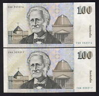 Australia R-612. (1990) Fraser/Higgins - $100.. Partial Solid Number CONSEC Pair