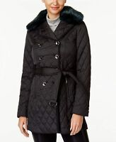 Laundry by Shelli Segal NWT Faux fur BLACK Quilted Trench Jacket XS,S,M,L,XL