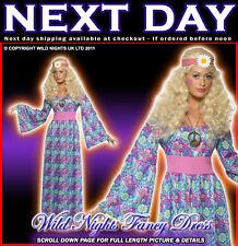 FANCY DRESS COSTUME # 70'S FLOWER CHILD MAXI DRESS MED 12-14