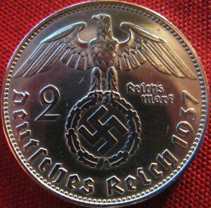 Old German 2 Reichsmark 1937-SILVER Genuine Coin Third Reich-EAGLE SWASTIKA-WWII