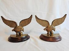 "BRASS EAGLE BOOKENDS Set of 2 Wood Base 6"" x 8"" Wings Spread Vintage India"