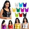Frauen Metallic Wetlook Crop Tops Bauchfrei Bustier BH Weste Tank Top Oberteil