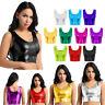 Women Metallic Shiny Vest Tank Crop Top Party Clubwear Rave Bustier Blouse Shirt