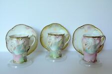 Set Of 3 Antique German UNSIGNED RS Prussia SWANS Chocolate Cups & Saucers