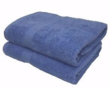 2 X THICK 100% EGYPTIAN COTTON CHINA BLUE SOFT LUXURY BATH SHEETS  90 X 150 CMS