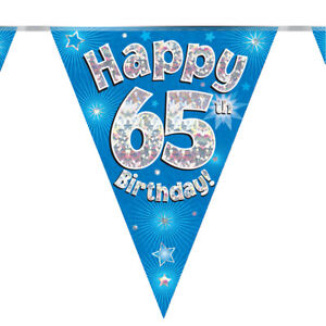 Age 65th Happy Birthday Bunting Blue Holographic Foil Party 3.9m Long 11 Flags