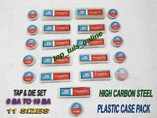 HIGH CARBON STEEL TAPS & DIES 0 BA TO 10 BA SET PLASTIC BOXED 11 SIZES 44 PCS