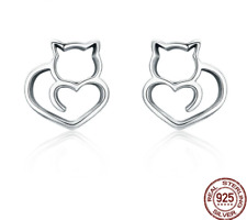 Authentic Silver925 Cute Cat Small Stud Earrings Women Jewelry Gift Pet Love