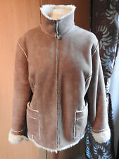 SIZE 18 LADIES WINTER JACKET - FAUX SUEDE OUTER.  MOCK SHEEPSKIN LINING
