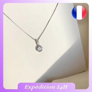 Collier Zircon 925 Argent Sterling avec Pendentif diamant fantaisie bijoux