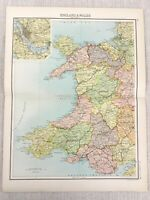 1898 Map Of North West England Wales Liverpool Strickjacke Bay Alte 19th Century