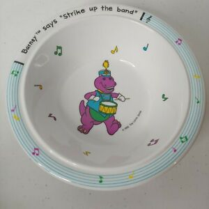 Vintage Barney The Purple Dinosaur Plastic Bowl Strike Up The Band Lyons Group