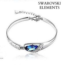 Bracelet jonc bangle Swarovski® Elements  bleu saphir plaqué argent top qualité