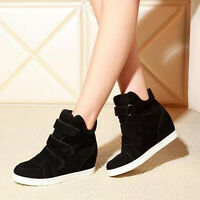 Women's Hidden Wedge Heel Shoes Increased High Top Casual Canvas Sneaker Fashion