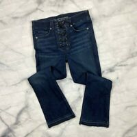 """Veronica Beard Carolyn 10"""" Baby Boot Cut Jeans Size 27 Womens Lace Up Fly Rawhem"""