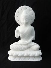 """16"""" Large Marble Buddha Carving Natural Carved Thai Amulet Statue White Jade Art"""