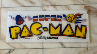 "23- 9"" ORIGINAL SUPER PAC MAN PLEXI sign marquee ARCADE VIDEO GAME PART FL-2"