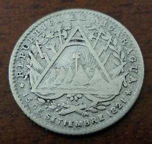 Nicaragua 1887 H Silver 5 Centavos Circulated