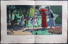 Pierre BRISSAUD : Pochoir Art Déco ORIGINAL planche double 1914 GAZETTE BON TON
