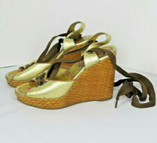 Anna Sui Womens Shoes Wedge Sandals 5 Japan Gold Leather Gladiator Designer Chic