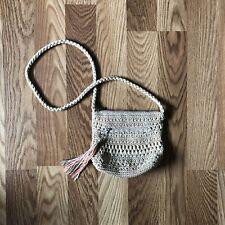 Croft & Barrow Woven Crossbody Shoulder Bag Tan Handbag Crochet Purse