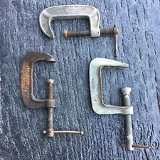 """VINTAGE C CLAMPS Pony Iron WOODWORKING Machinist Made in USA 3"""" 4"""" Tools Antique"""