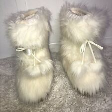 Guess Faux Fur Boots Girls size 1 Color Pull On Satin band