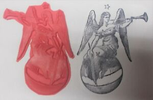 Religious Angel with horn rubber stamp angels star art unmounted stamps lady