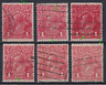 AUSTRALIA 1914-18:six 1d red KGV with minor printing varieties · see notes