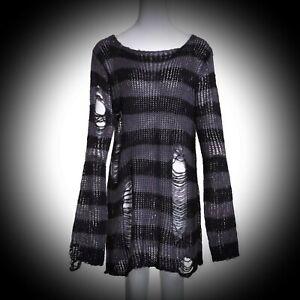 New Black/Grey Striped Gothic Grunge Distressed Holey Jumper Plus Size 20 22 24