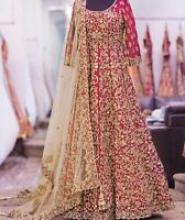 INDIAN PAKISTANI HEAVY BRIDAL PARTY ANARKALI WEDDING SALWAR KAMEEZ SUIT