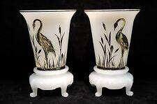 Pair of Beaumont Glass Co. Depression Era Ferlux Vases with Crane Decoration