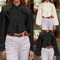 Plus Size Women Long Sleeve Tie Up Bow Top Tee Shirt Mesh Polka Dot Party Blouse