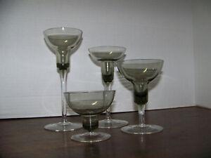 Vintage ORREFORS SMOKE GRAY Glass Stemmed CANDLESTICK HOLDERS set of 4